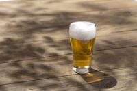 生ビールと樹の葉シルエット