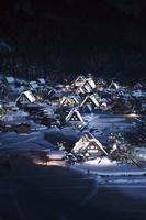 岐阜県 冬期夜間ライトアップされた白川郷