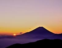 山梨県 日の出と富士山