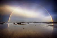 イギリス スコットランド ノース・バーウィック・ビーチと虹