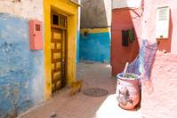 モロッコ エッサウィラ カラフルな家と猫