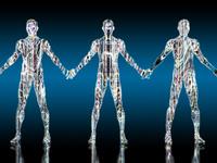 光り輝く先進ロボット同士が手を繋ぐ
