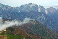 長野県 稜線を越える雲と剣岳