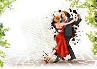 石畳で踊るカップル イラスト