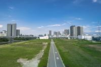 東京オリンピック施設建設予定地と豊洲、東雲周辺のビル群