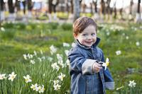 春の花を摘む男の子