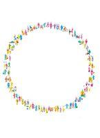 たくさんの人でつくる輪 (デジタルイラスト)