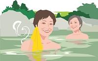 温泉旅行を楽しむアクティブシニアの女性