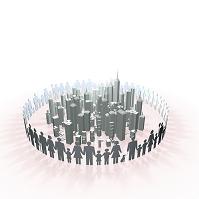 ビル群を囲む人の輪