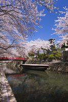 岐阜県 奥の細道むすびの地 水門川と住吉燈台