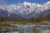 残雪の五竜岳と松川