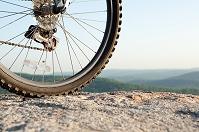 自転車の車輪のアップ