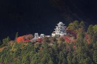岐阜県 堀越峠から望む紅葉と郡上八幡城