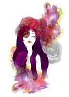 PURPLE 女性とバラ