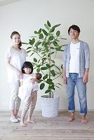観葉植物と日本人家族