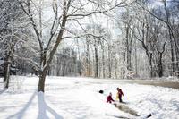 雪の小川で遊ぶ姉妹