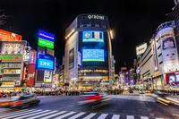 東京都 渋谷スクランブル交差点 夜景