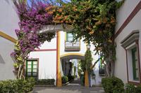 スペイン プエルト・デ・モガン 花のアーチと家