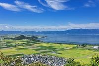 滋賀県 近江平野 琵琶湖と比良山地