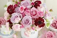 キャニスターにピンクのバラとスカビオサ
