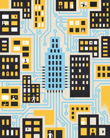 People and houses in the city connected by circuit board by ...