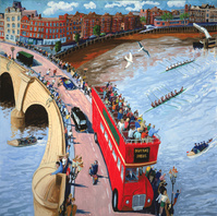 The Boat Race from Putney Bridge (w/c on paper)