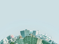 湾曲する都市景観