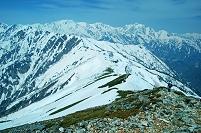 長野県 爺ヶ岳より雪稜と立山・剣岳