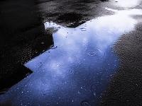 水たまりに小雨の波紋