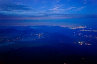 山梨県 富士山八合目から見た山中湖 平塚市 横浜市方面の夜景