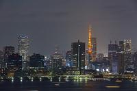 東京都 東京湾 港区周辺の夜景と東京タワー