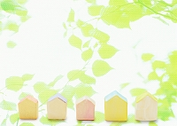 葉と住宅のミニチュア