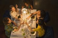 友人とディナーで乾杯する若い女性グループ