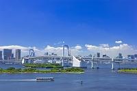 東京都 お台場レインボーブリッジと水上バス