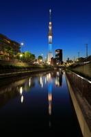 東京都 北十間川に映るスカイツリーの夜景 粋