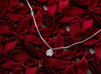 赤いリボンとダイヤモンドのペンダント