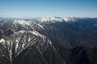 赤石山脈(南アルプス)の山並み(大沢岳、赤石岳、中岳、烏帽子岳...