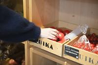 八百屋で有機野菜を選ぶ女性
