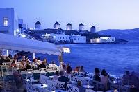 ギリシャ ミコノス島 レストランのテラス