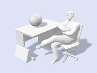 椅子に掛けて思い悩むビジネスマン