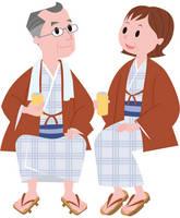 浴衣姿-シニア夫婦