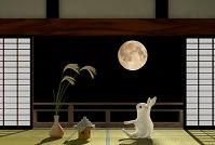お月見をするウサギ