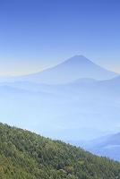 山梨県 櫛形山 朝の富士山と山並み