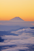 長野県 高ボッチ高原より雲海と富士山朝景