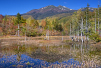 長野県 秋のどじょう池と乗鞍岳