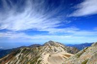 富山県 立山・大汝山山頂から稜線と剣岳
