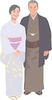 和装で並んで立つアクティブシニアカップル