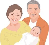 孫を抱くアクティブシニア夫婦