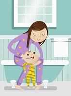 子供の世話をする女性