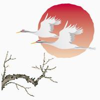 鶴と日の出